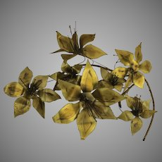 Brass Wall Sculpture by Stephen Vat, 1980's Signed Flowers