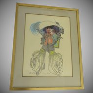 Signed Silkscreen 1970's Woman Hat Period Clothes Hippie