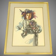 Signed Silk Screen Woman 1970's Period Clothing Hippie Flower Child