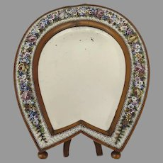 Large 19th Century Micromosaic Easel Beveled Mirror in Shape of Horse Shoe Vanity Mirror