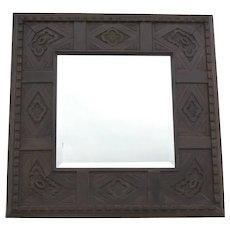 Square Mirror with Quatrefoil and Dental Motif