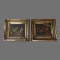 Pair of Dutch Genre Painting 19th Century