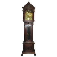 Elliot of London English Mahogany Grandfather Clock Retailed by Colwell and Hubbard c 1890
