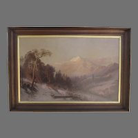 Large Oil on Canvas Painting Signed J.E. Stuart and Dated 1876 Mount Shasta Landscape
