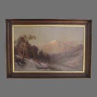 Large Oil on Canvas Painting Signed J.E. Stuart and Dated 1876 Mount Shasta Landscape
