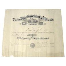 Testimonial of Merit Original Certificate Jersey City 1896