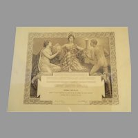 Large 19th Century Commemorative Diploma United States of America Universal Exposition Saint Louis 1904 Hermes Nude Male