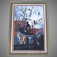 Oil on Canvas by Raya Sorkine (Alain-François Bouvier Cachard) Still Life c.1960 and Mid-Century