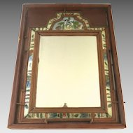 European Late 18th Century Pine Courting Mirror with Reverse Painted Glass depicting Flowers and Acorns