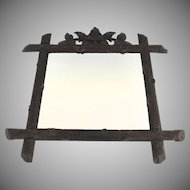Black Forest Carved Frame Mirror with Leaf and Branch Motif