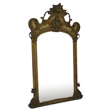 Large American Gesso Gilt Mirror French Style c 1880