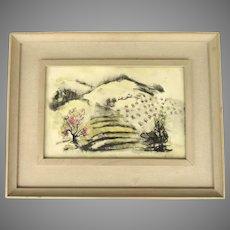 Watercolor by Bartlett Tracy c 1950 New Hampshire Primitive Mountain Scene
