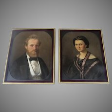 19th Century Pair of European Portraits of Husband and Wife by Laminaim August Signed and Dated