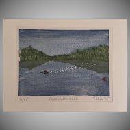 Signed Numbered Woodblock Print by Telk 1985 OGISHKEMUNCIE King Fisher