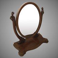 Mahogany Dressing Mirror Large Oval c 1870