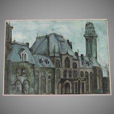 Mid Century Painting Depicting City Scene