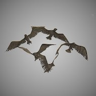 Bronze Wall Sculpture c 1980 by Willie Meade Birds in Flight