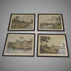 Early 19th C Aquatints of Anglers from Thomas McLean Captioned with quotes from Horace and Virgil Set of 4