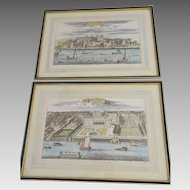 Benjamin Cole Hand-Colored Engravings, Old Somerset House & Tower of London, Stowe's Survey 1754 & 1755