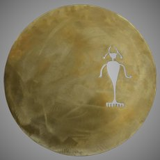 Signed Dated Kokopelli Bronze Wall Disc by Denver Artist Fred Myers Petroglyph