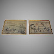 "19th Century Japanese Paintings on Silk Large ""Views of Edo"" and ""Fishing Scene of Fujiyama"" Pair"