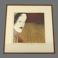 """Woodcut Print by Nana Shiomi (Men) """"Mask"""" 2002"""