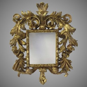 Robust Rococo Carved Gilt Frame Mirror 19th Century