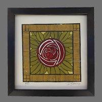 David Simcox Linoleum Woodblock Print Macintosh Rose Framed Arts and Crafts Craftsman Signed