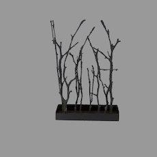 Vintage Metal Cast Magnolia Twig Sculpture