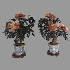 Pair of Early 20th Century Ornamental  Jade Tree with Semi Precious Stone Flowers in Cloisonné Pot