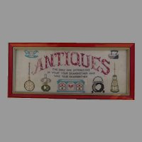"""Vintage Sign Wall Art Cross Stitch Reads """"Antiques"""""""