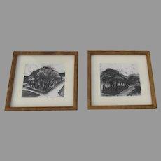Two (2) Lynn Van DeWater DeCew Colorado Artist Charcoal Drawings