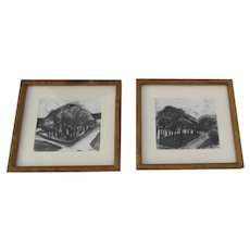 Two (2) Lynn Van DeWater DeCew Colorado Artist Charcoal Drawings