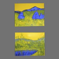Acrylic Painting Pair of Mountain Landscape at sunset