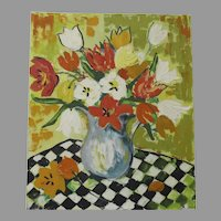 Mid Century Painting of Vase with Tulips