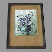 Painting of Round Flower Vase with Pretty Blue Flowers Signed by A. Robinson