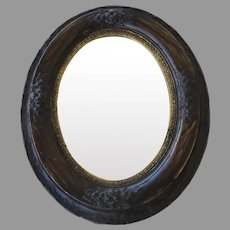 Oval Mirror Faux Wood and Flowers Motif Guilt Rim