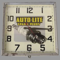 Vintage Car Auto-Lite Spark Plugs Advertising Clock