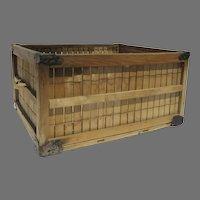 Vintage Wood Slat Crate Side Handles Reinforced Corners Industrial Table