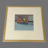 """Print of Alphabet Blocks Letters """"B"""" & """"E"""" Singed by the Artist"""