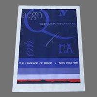 "1981 Vintage Signed Silkscreen Poster ""The Language of Praise"" Arts Fest"