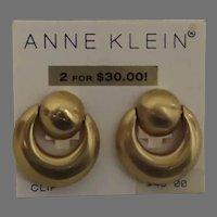 Vintage Un-used Large Brushed Gold Tone Hoop Earrings by Anne Klein