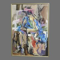 """Very Large Oil on Canvas by Lee Lippman American 20th Century Titled """"Shopping Bag Lady Holding a Blue Coat"""""""