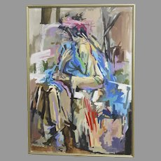 "Very Large Oil on Canvas by Lee Lippman American 20th Century Titled ""Shopping Bag Lady Holding a Blue Coat"""