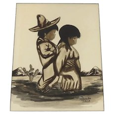 Vintage Mexican Folk Art Signed Painting Boy and Girl By Domingo