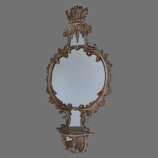 19Th Century Carved and Gilt Italian Mirror with Shelf