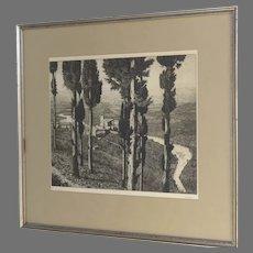 Etching of Assisi Italia Laurenzo Lorenzi Italian 1878 - 1946