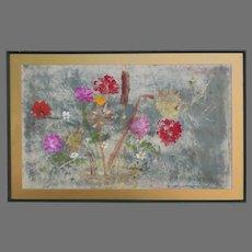 Vintage  Greta Hilb Painting of Flower on Paper