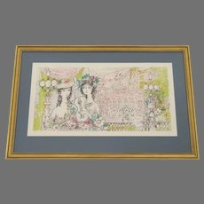 """Lithograph by Charles Cobelle (1902-1994) """"Les Guitaristes"""" Framed"""