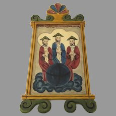 Large Spanish Colonial Folk Art Carved Painted Holy Trinity Signed Dated